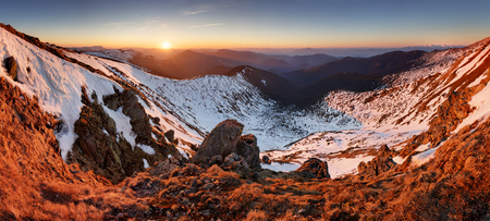 Mountain landcape at spring - winter in Slovakia, Low Tatras panorama