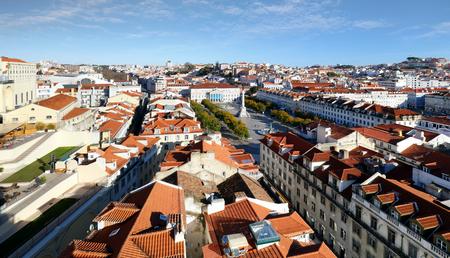 Lisbon skyline from Santa Justa Lift, Portugal Stock Photo
