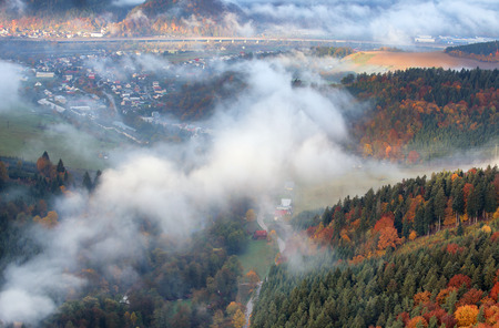Slovakia forest autumn landscape with mountain with village Stock Photo