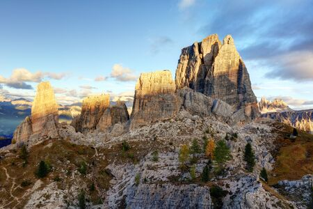 torri: Italy, Dolomites, Cinque Torri.  Cinque Torri are a small group belonging to Nuvolao group, in the Eastern Dolomites.