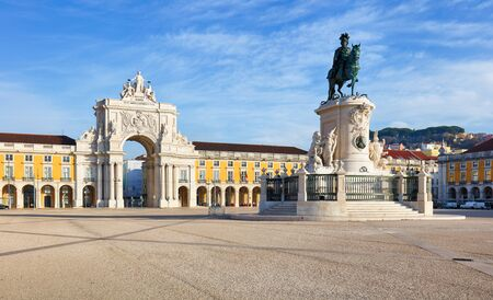 historical building: Rua Augusta Arch is a triumphal, historical building  in Lisbon on Commerce Square, Portugal