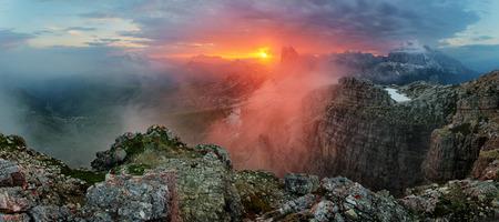 red mountain: Red mountain landscape panorama, Dolomiti Stock Photo
