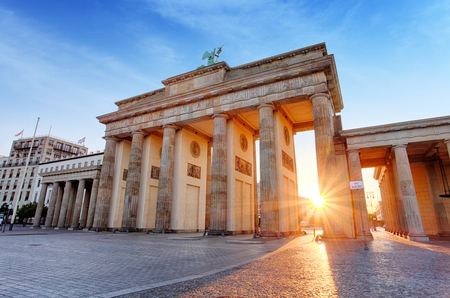 Berlin - Brandenburg Gate at sunrise, Germany Stock Photo