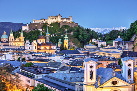 wolfgang: Salzburg city at night, Austria Stock Photo