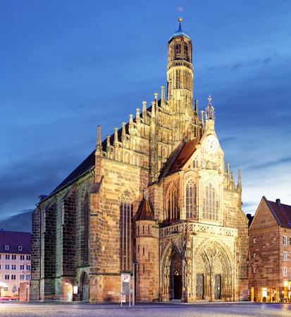 Hauptmarkt with Frauenkirche church andmarketplace in Nuremberg, Bavaria, Germany. Stock Photo