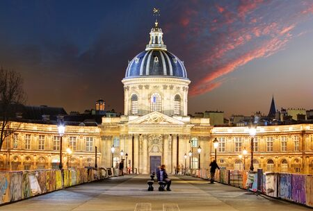 academie: French Institute - Institute de France at night, Paris Stock Photo