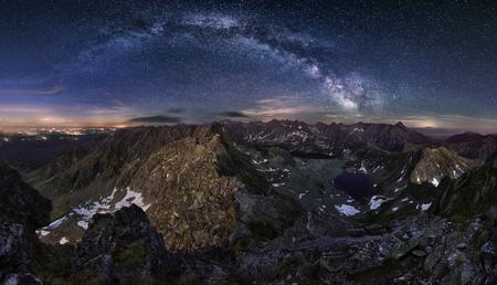 giewont: Zakopane in Poland at night from Tatras peak Swinica