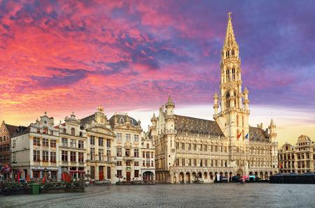 Brussels, Grand Place in beautiful summer sunrise, Belgium
