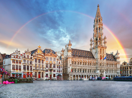 Brussels, rainbow over Grand Place, Belgium, nobody Фото со стока - 85657713