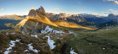 Meadow on Seceda plateau in Val Gardena, Italy, Europe Banco de Imagens