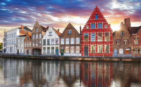 Bruges - Canals of Brugge, Belgium,  evening view.