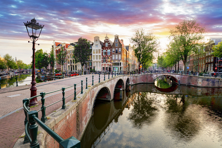 Amsterdam Canal houses at sunset reflections, Netherlands Reklamní fotografie - 89361339