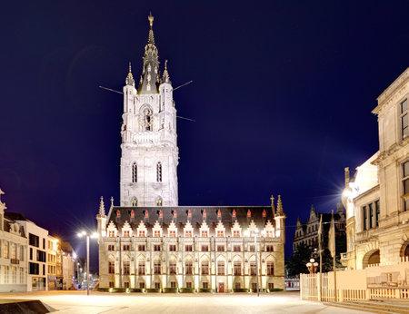 Belfort tower in historical part city of Ghent, Belgium Redakční