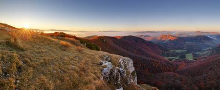 Mountain panorama with path from peak Klak at autumn, Slovakia Stock Photo
