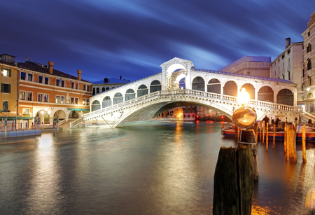 The Rialto Bridge at Night, Venice. Italy Stock Photo