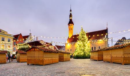 Christmas in Tallinn. Town Hall Square, Estonia. Stock Photo