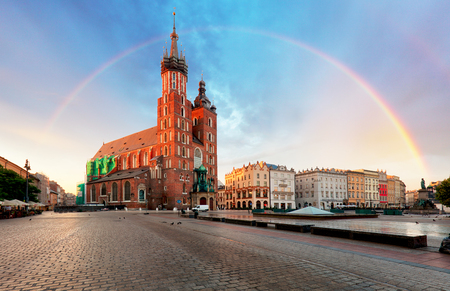 Krakow Market Square with rainbow, Poland