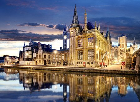 Medieval Ghent at night. Belgium
