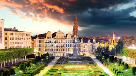 Brussels cityscape at night,  Belgium panorama skyline