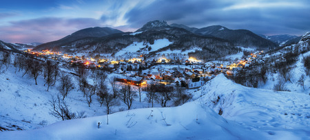 Night at Winter with beautiful village, Slovakia Reklamní fotografie