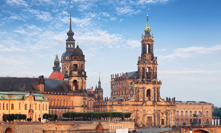 The old town of Dresden with the Hofkirche Stock Photo