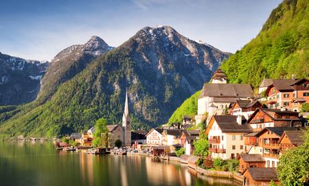 Mountain landscape in Austria Alp with lake, Hallstatt