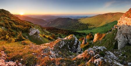 Beautiful autumn morning above green forest valley in national park Fatra, Slovakia landscape Reklamní fotografie