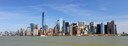 New York lower downtown panorama and skyscrapers