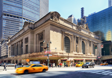NEW YORK CITY - April 14: Historic NYC, Grand Central Terminal as seen from the street on April 14, 2016. The worlds largest train station, Grand Central has more than 44 platforms and 67 tracks.