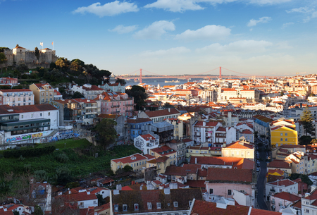 Lisbon historic city at sunset, Portugal