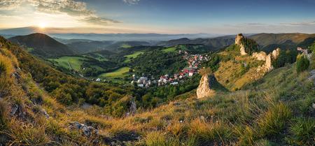 Moutain and village  at sunset - Slovakia Reklamní fotografie