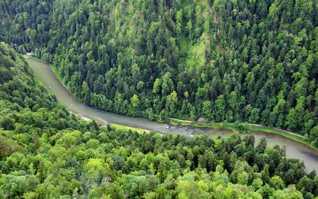 Forest Mountain landscape with river Dunajec from peak Sokolica, Pieniny Reklamní fotografie
