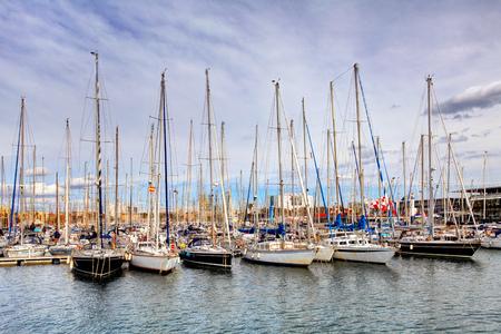 Port of Barcelona, Spain. Yachts, sailing boats Reklamní fotografie