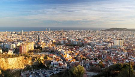 Barcelona skyline at sunset, Spain. Redakční