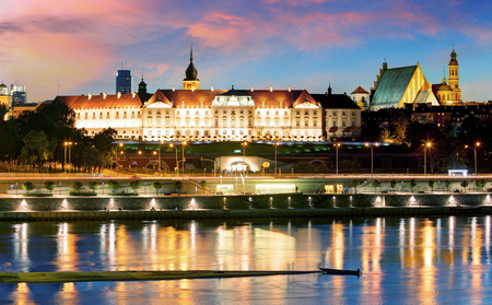 Vistula River waterfront and panorama of the Royal Castle in Warsaw, Poland.