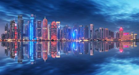Skyline of Doha, Qatar during night