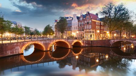 Amsterdam at night - Holland, Netherlands.