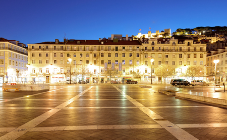 LISBON, PORTUGAL - FEBRUARY 19, 2017: The Praca da Figueira (English: Square of the Fig Tree) is a large square in the centre of Lisbon, in Portugal Redakční