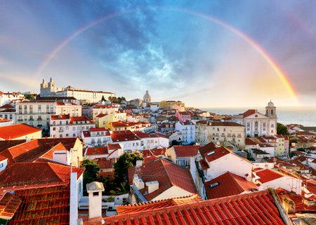 Lisbon with rainbow, Portugal Editorial