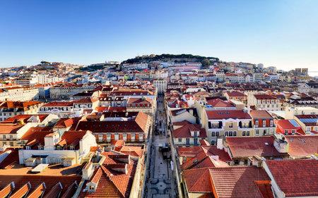 Lisbon skyline from Santa Justa Lift, Portugal Redakční