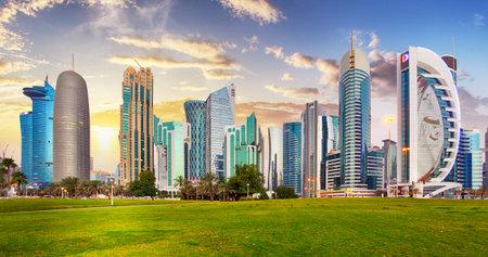 Skyline of West Bay and Doha City Center during sunrise, Qatar