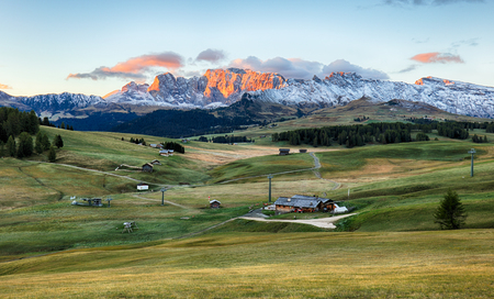 Landscape in mountain pasture and peak, Alpe di Siusi, Dolomites
