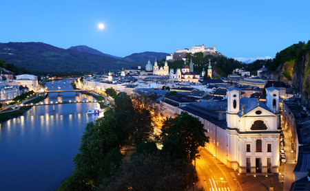 Salzburg skyline at night, Austria
