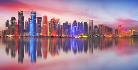 Skyline of modern city of Doha in Qatar, Middle East. - Dohas Corniche in West Bay, Doha, Qatar Reklamní fotografie