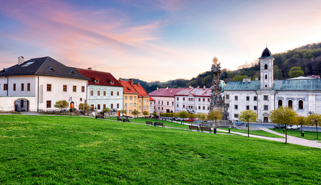 Historic square in the mining town of Kremnica, Slovakia