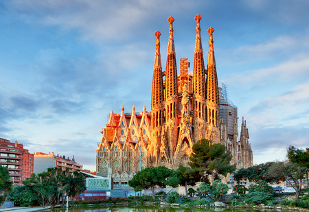 View of the Sagrada Familia, a large Roman Catholic church in Barcelona, Spain, designed by Catalan architect Antoni Gaudi, on February 10, 2016. Barcelona