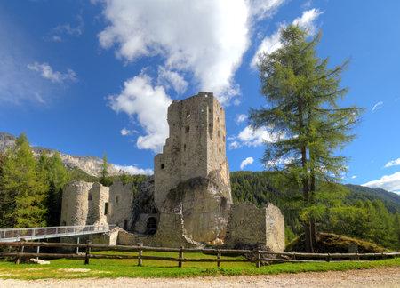 Castello or Castle Buchenstein under Col Di Lana, Livinallongo, South Tirol, Dolomiten mountains, Italien European Alps