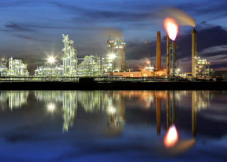 Oil refinery - Petrochemical industrial factory Stock Photo