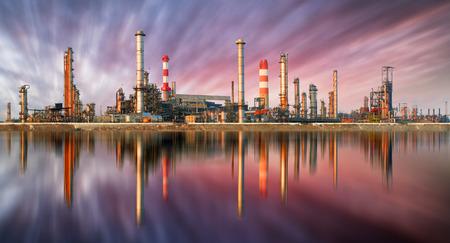 Oil Refinery at sunset with reflection Reklamní fotografie