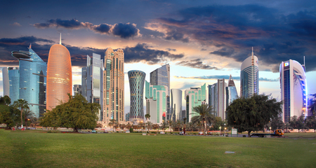 Skyline of modern city of Doha in Qatar, Middle East. - Dohas Corniche in West Bay, Doha, Qatar Reklamní fotografie